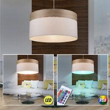 Led Lampe de Lumière Pendentif Pendule Bois Tissu RGB Télécommande E27 Salon