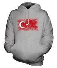 Turchia Bandiera Effetto Consumato Felpa Unisex Maglia Turkiye Calcio Turco