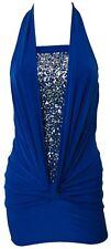 LADIES ROYAL BLUE MINI SEQUINS HALTER NECK DRESS 8-18