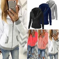 Womens Fleece Zip Up Hoodie Ladies Swetshirt Jumper Jacket Hoody Coats S M L XL