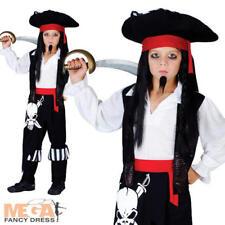Pirate Captain Blackheart Boys Fancy Dress Kids Child Dressing Up Costume + Hat