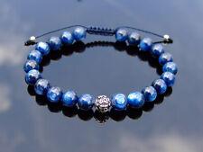 Kyanite Om Sterling Silver Natural Gemstone Bracelet 6-9'' Macrame Healing Reiki