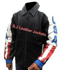 Men's Fashion USA Flag Cow Leather Moto Jacket