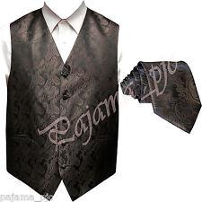 BROWN XS to 6XL Paisley Tuxedo Suit Dress Vest Waistcoat & Neck tie Wedding
