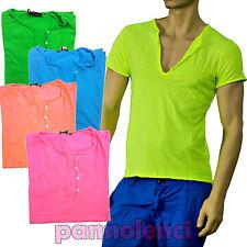T-shirt maglia maglietta UOMO scollo V cotone colori FLUO NEON bottoni 3333