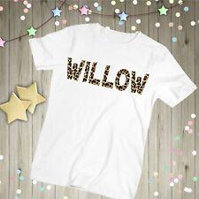 Personalised Leopard Print T-shirt, Kids Childrens Name Tshirt Birthday Gift