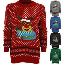 Ladies Knitted Polka Dot Rudolf Reindeer Christmas XMAS Women's Aztec Jumper