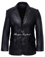Men's CLASSIC BLAZER  Black Tailored Soft Real Lamb  Leather Jacket Coat