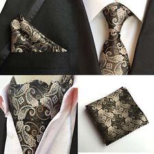 Mens Paisley Floral Black Silk Tie Necktie Ascot Cravat Pocket Square Set Lot