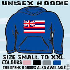 HAWAII HAWAIIAN FLAG EMBLEM UNISEX HOODIE HOODED TOP