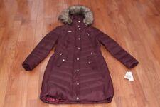 NWT Michael Kors Women Hood Faux Fur Trim Down Puffer Coat Jacket Burgundy S L