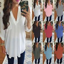 Damen V-Ausschnitt Chiffon Bluse Pullover Tunika Longshirt Langarm Hemdbluse Top