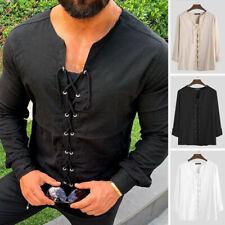 Vintage Men Medieval Long Sleeve Shirt Lace Up Blouse Collarless V Neck Tee Tops