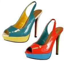 Womens Patent peeptoe slingback high heels coral blue summer shoes - SALE