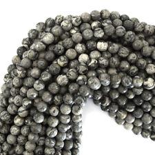 "Faceted Leopard Skin Jasper Round Beads Gemstone 15"" Strand 4mm 6mm 8mm 10mm"