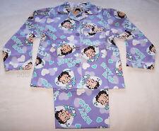 Betty Boop Girls Purple Flannel Pyjama Set Size 8 New