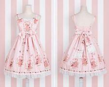 Cute Princess Mori Girls JSK Dress Lolita Squirrel Floral Print Sleeveless Dress