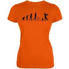 Halloween Zombie Evolution Orange Juniors Soft T-Shirt