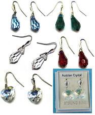 New Ladies Sterling Silver Austrian Crystal Drop Hook Studs Earrings 25mm 925