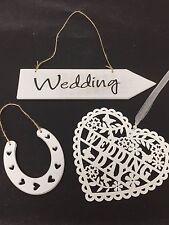 Wooden Wedding Heart, Sign & Horseshoe Shabby Chic