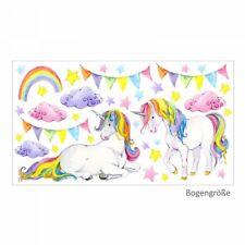 nikima - 072 Wandtattoo Einhorn bunt Regenbogen Kinderzimmer Baby Mädchen in 6 v