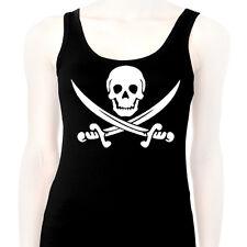 DEBARDEUR Tank Top Femme - Tête de mort Drapeau pirate Punk Rock Ska Hardcore