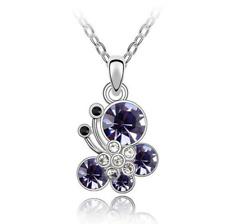 Halskette mit Anhänger Kette Modeschmuck Geschenk Kristall Schmetterling 45cm 1A