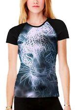 Fractal Leopard Women's All Over Graphic Contrast Baseball T Shirt