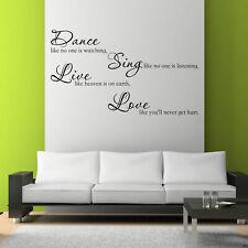 DANZA Amore Sing Live Room Wall Art Sticker Preventivo Decalcomania Murale Stencil WSD717