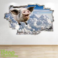 FLYING PIG WALL STICKER 3D LOOK - BEDROOM LOUNGE FARM YARD WALL DECAL Z232