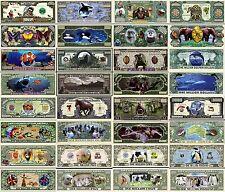 LOT 16 BILLETS COLLECTION Les ANIMAUX du MONDE AFRIQUE AUSTRALIE EUROPE AMERIQUE