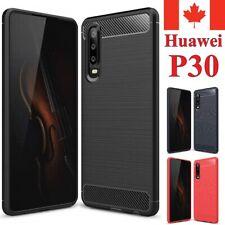 For Huawei P30 Case - Shockproof Carbon Fiber Soft TPU Hybrid Cover
