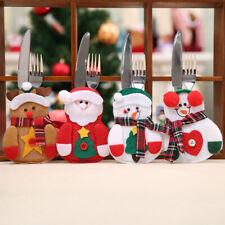 Merry Christmas Decor Home Dinner Table Cutlery Folks Bag/Holder Pocket New Year