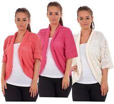 New Ladies Diamond Crochet Knitted Shrugs Boleros Tops Plus Size 16 to 32