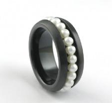 Edelstahl Ring Bandring Damen Perlenring Süßwasserperlen Damen weiß SWP schwarz