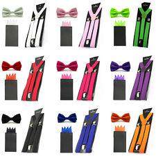 Herren Satin Solid Fliege Mit Taschentuch Einstecktuch Suspender Braces Set