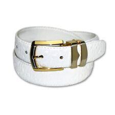 OSTRICH Pattern WHITE Color BONDED Leather Men's Belt Gold-Tone Buckle Regular