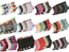 Ladies Design pattern printed Socks Cotton Rich Lycra Everyday Sock 4-7 lot