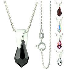 925 Sterling Silver Faceted Chandelier / Teardrop Black Onyx Pendant Necklace