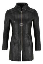 Ladies Trench Leather Jacket Black Napa Mid Length Coat Classic Long Jacket 1021