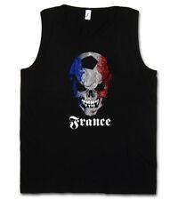 BLACK CLASSIC FOOTBALL SOCCER FRANCE SKULL FLAG TANK TOP Fan Hooligan Frankreich