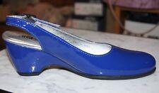 Arche Posta Royal Blue Patent Slingback Wedge Heeled Shoe