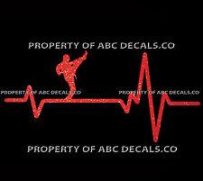 VRS Heart Beat Line KARATE MMA Martial Arts Mix High Front Kick CAR METAL DECAL