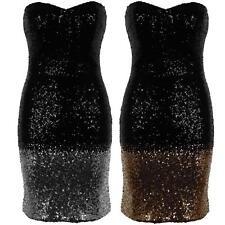 Women's Bandeau Bootbube Padded Dip Dye Sequin Ladies Mini Bodycon Dress