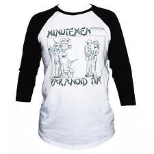 Minutemen T SHIRT Fugazi Black Flag Punk Rock Raglan 3/4 Sleeve Graphic Band Tee