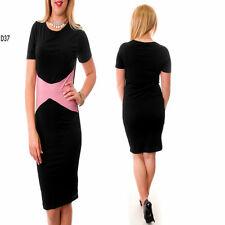 D37 Womens Black Office Work Party Race Midi Bodycon Short Sleeves Pencil Dress