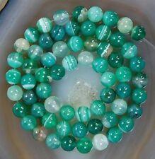 "6-10mm Green Stripe Agate Onyx Round Loose Bead 15"""