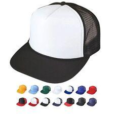 6 Pack Flat Bill Blank 5 Panel Mesh Foam Trucker Baseball Hats Caps Wholesale