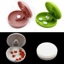 Medicine Tablet Storage Box With Splitter Organizer Hold Divider Pill Cutter Q