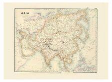Old Vintage Decorative Map of Asia China India Japan Fullarton 1872